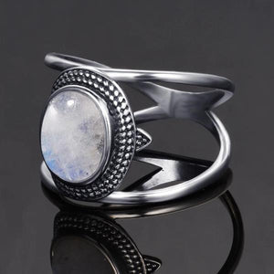 Elegant Natural Rainbow Moonstone Ring