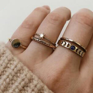 Moon and Star Geometric Rings Set