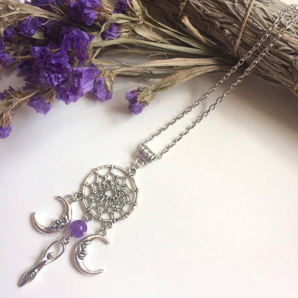 Dreamcatcher fertility goddess moons necklace