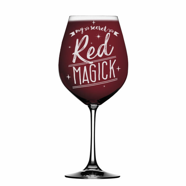 My secret red magick 19 oz Laser Etched Wine Glass