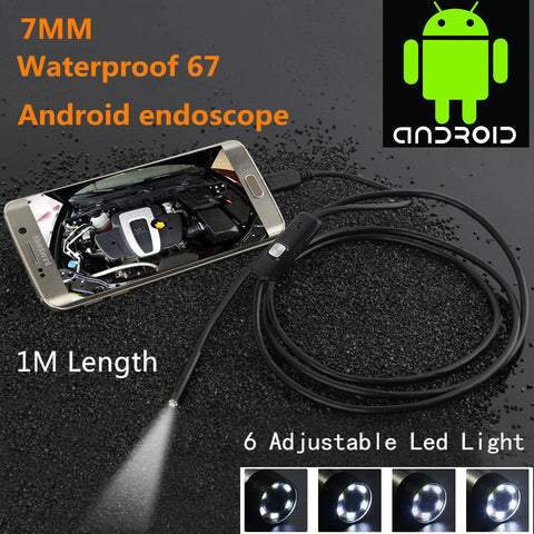 Locksmith Inspection mini USB Camera Waterproof 480P HD 7mm lens Pipe 1m Endoscope Snake Tube with 6 LEDs Borescope For Android Phone PC