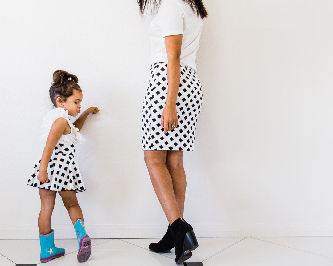 Mommy and Me Matching Skirts - Black and White