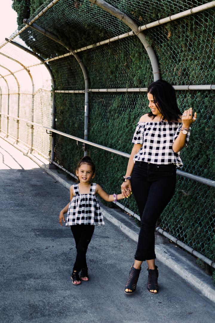 Black-and-white checkered crop tops, mommy and me