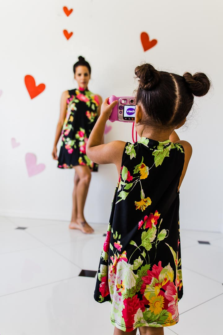 Dresses for mom and daughter, floral print black