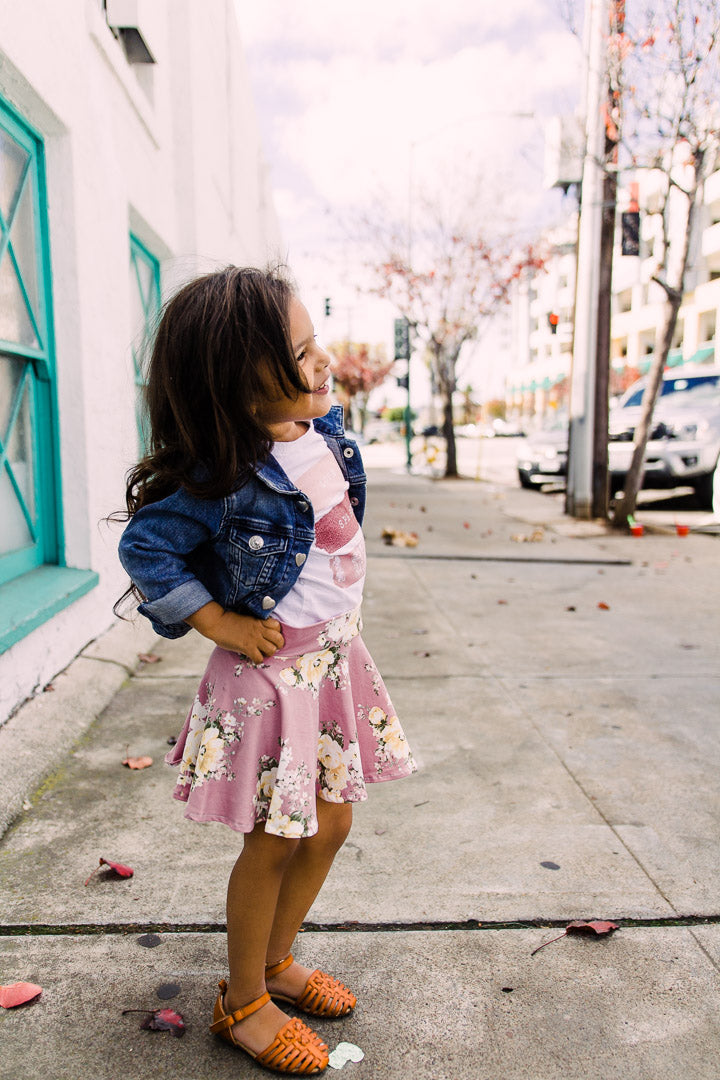 Fashion Circle skirt for toddler girl, pink outfit