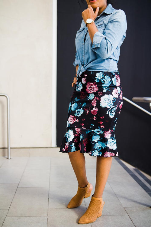 Fluted skirt women - Rose print - burgundy and blue