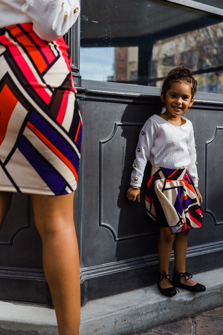 Girl wearing a chevron circle skirt