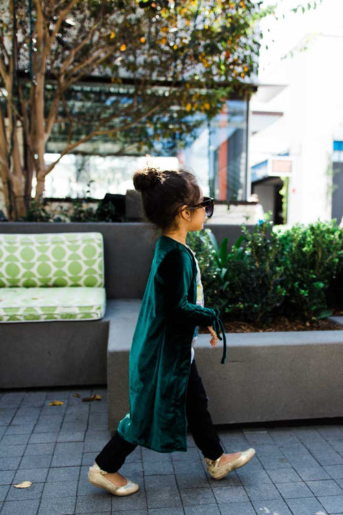 Green Cardigan - Green velvet top - Ruched sleeves
