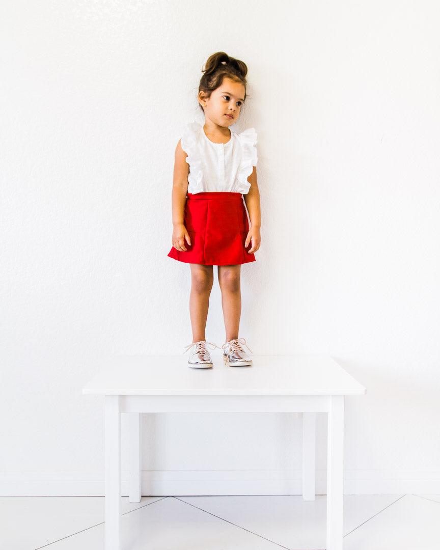 toddler girl wearing Red Skirt - valentines day skirt