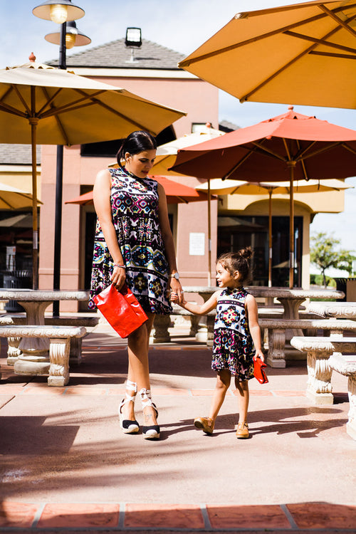 Ikat row t shirt dress, mom and me matching
