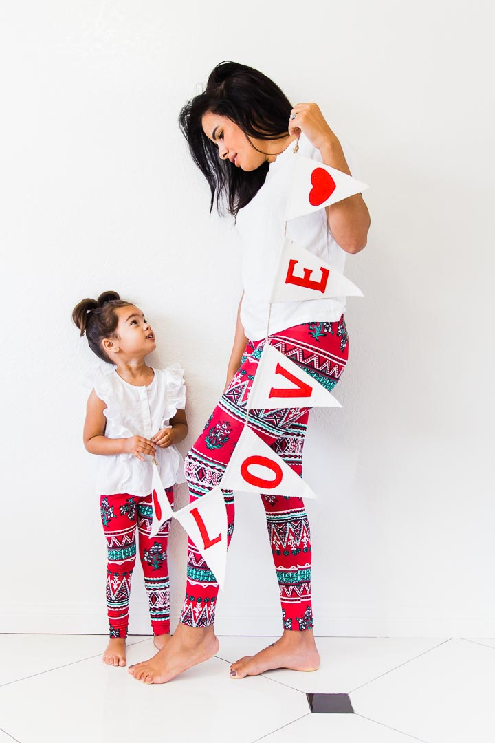 Leggings - Mother & Daughter Matching Outfit - Valentines day leggings
