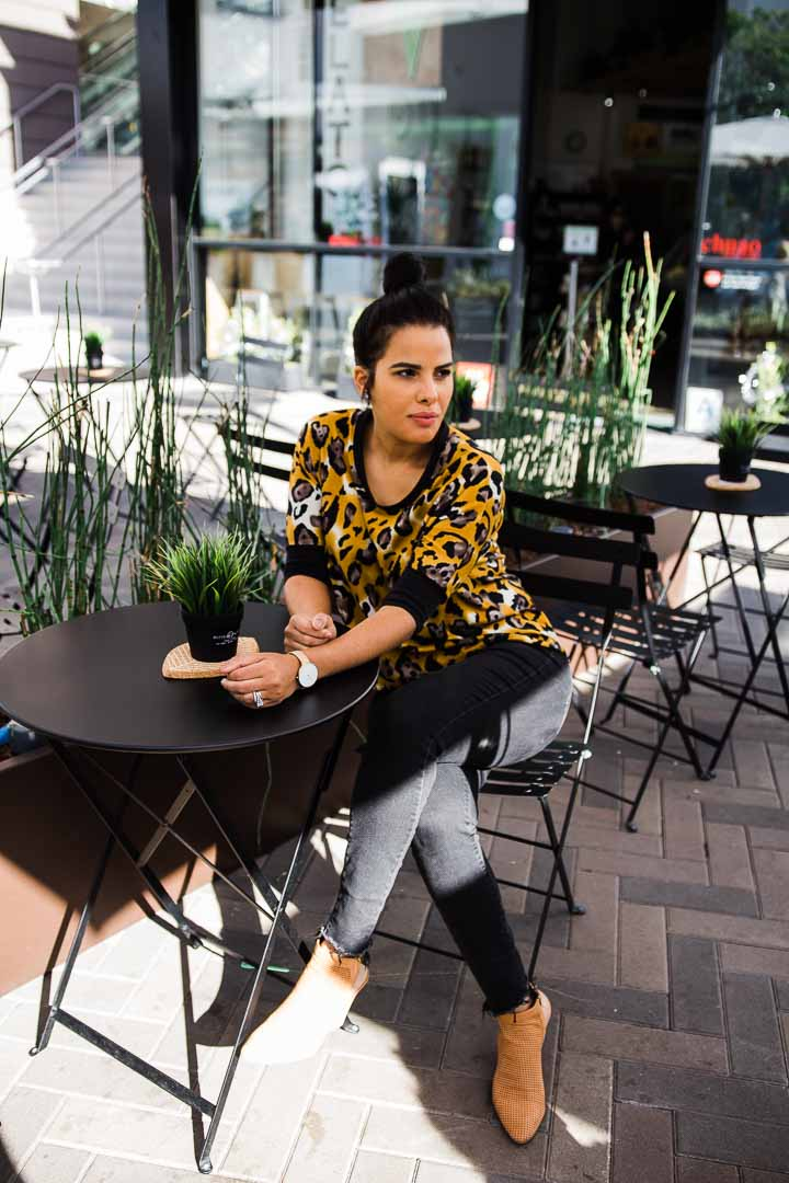 Leopard sweater - Half sleeve top for woman