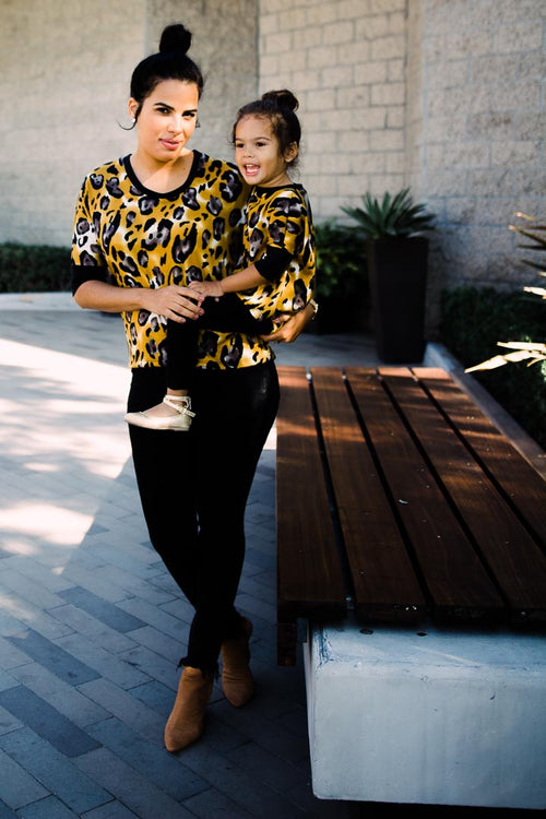 Leopard sweater - Short sleeve- Mom and Daughter set