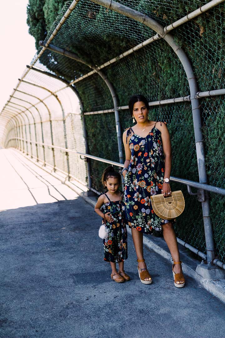 Light weight jumpsuit for mother and daughter, Blue floral print