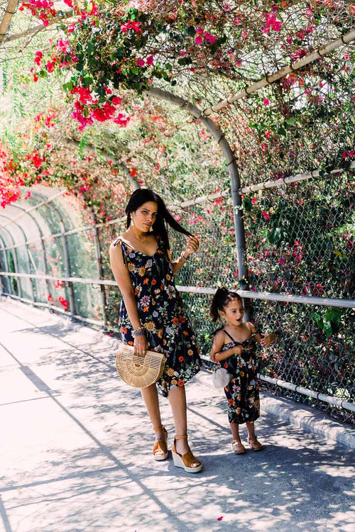 Matching Summer outfit for mom and daughter, floral romper