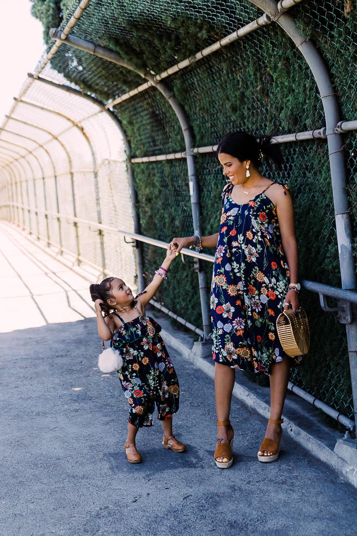 Matching floral romper for mom and daughter, blue