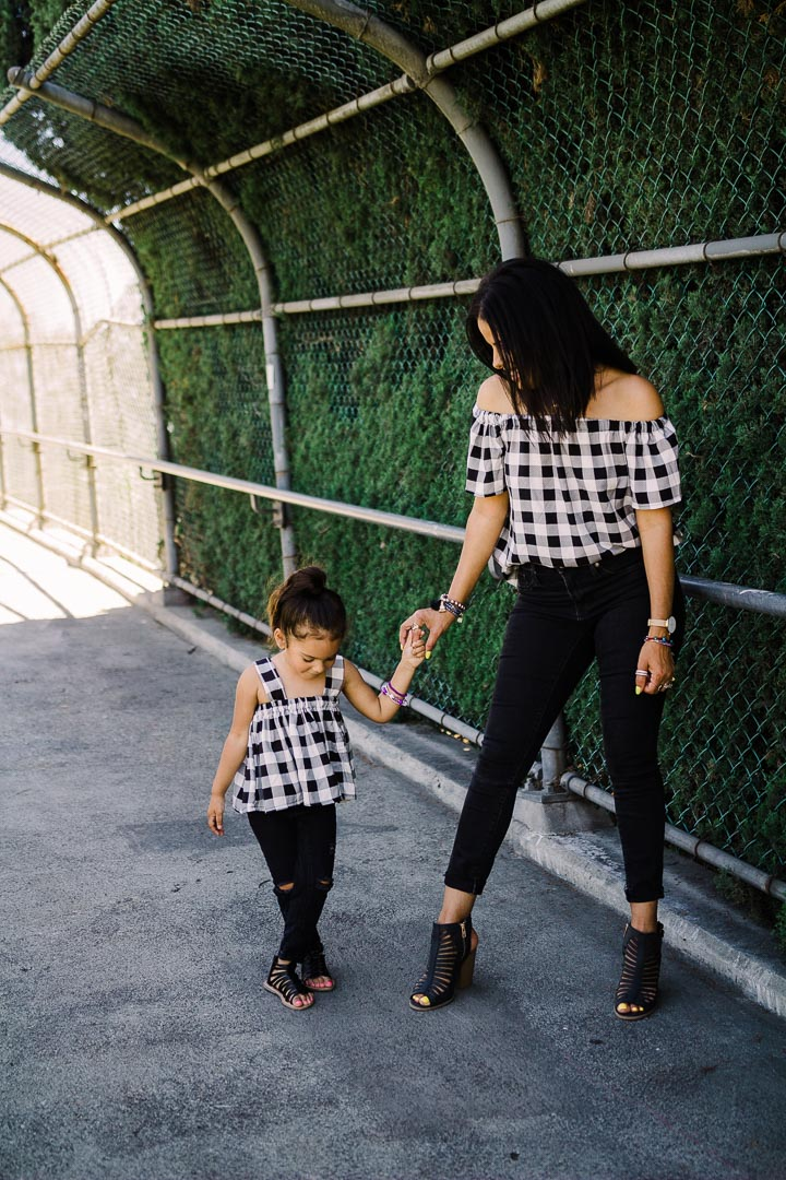 Off the shoulder top in crop top for mom and daughter