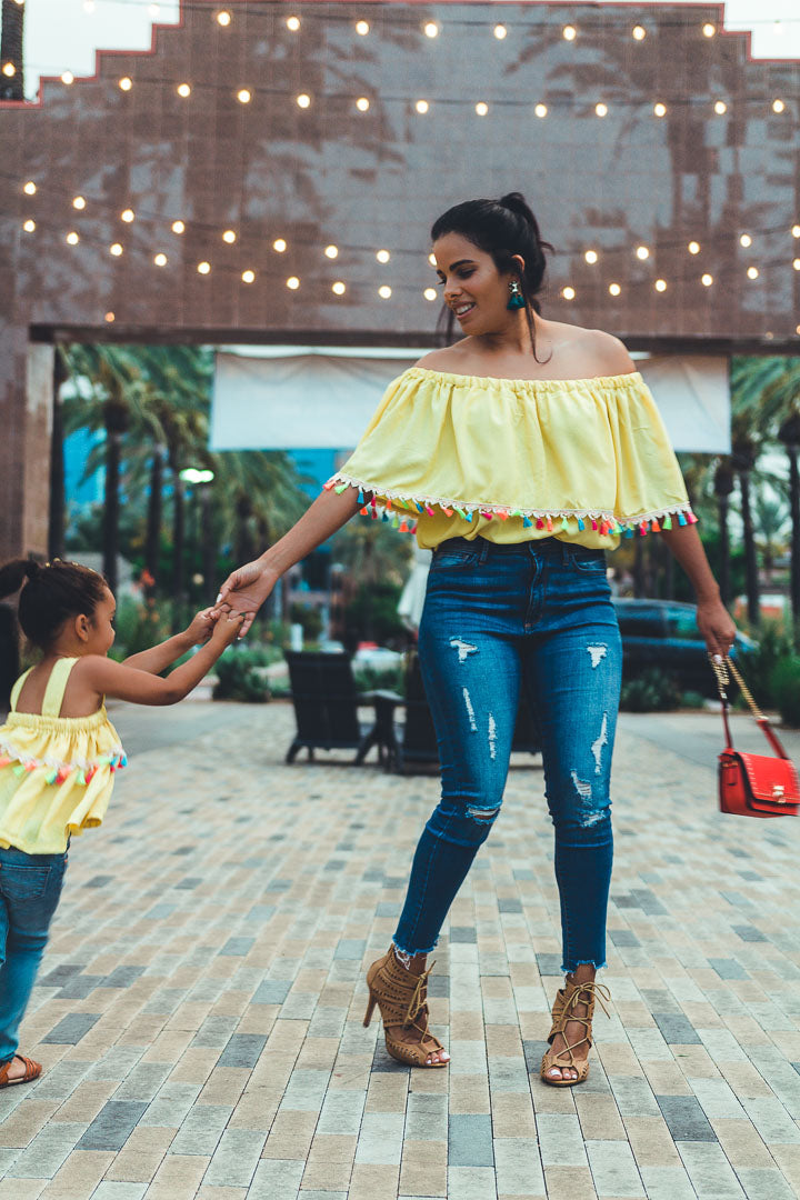 Rainbow tassel top for women, yellow