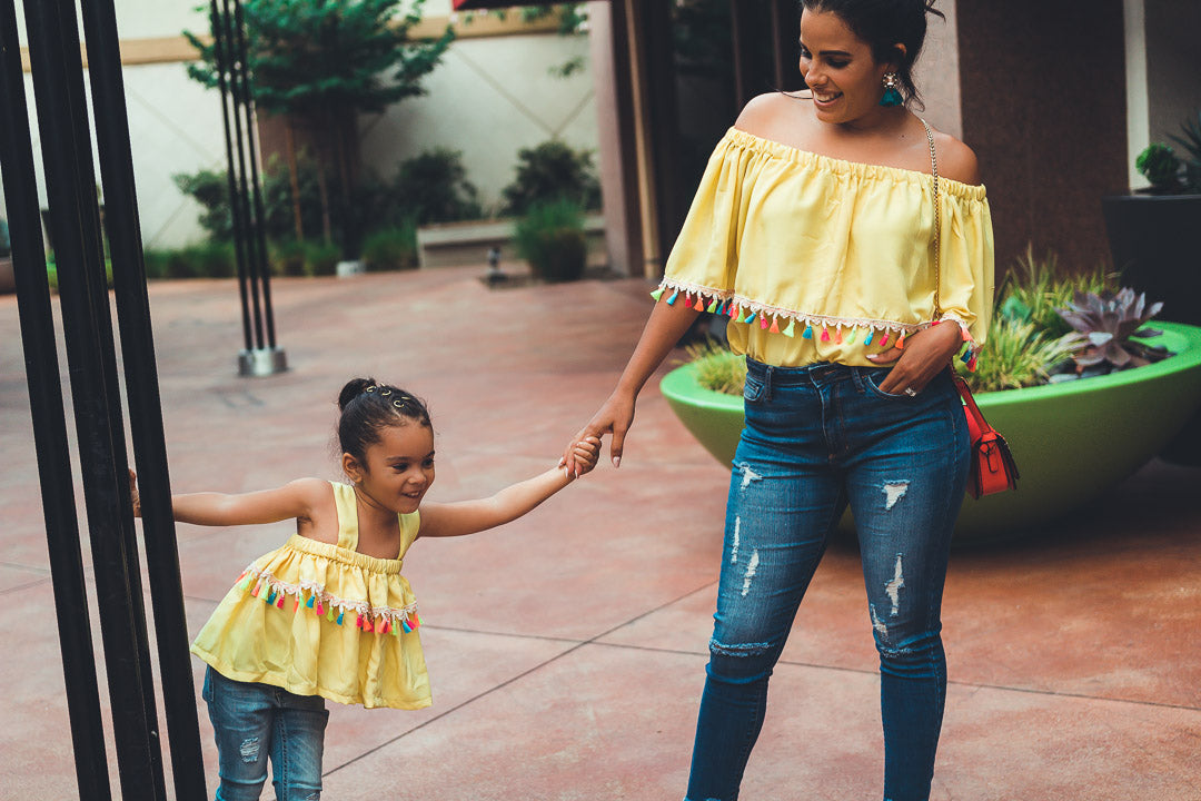 Rainbow tassel tops, matching yellow mom daughter outfit