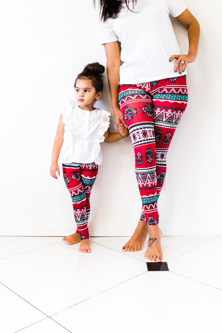 Red leggings - valentines day outfit - Mommy and me