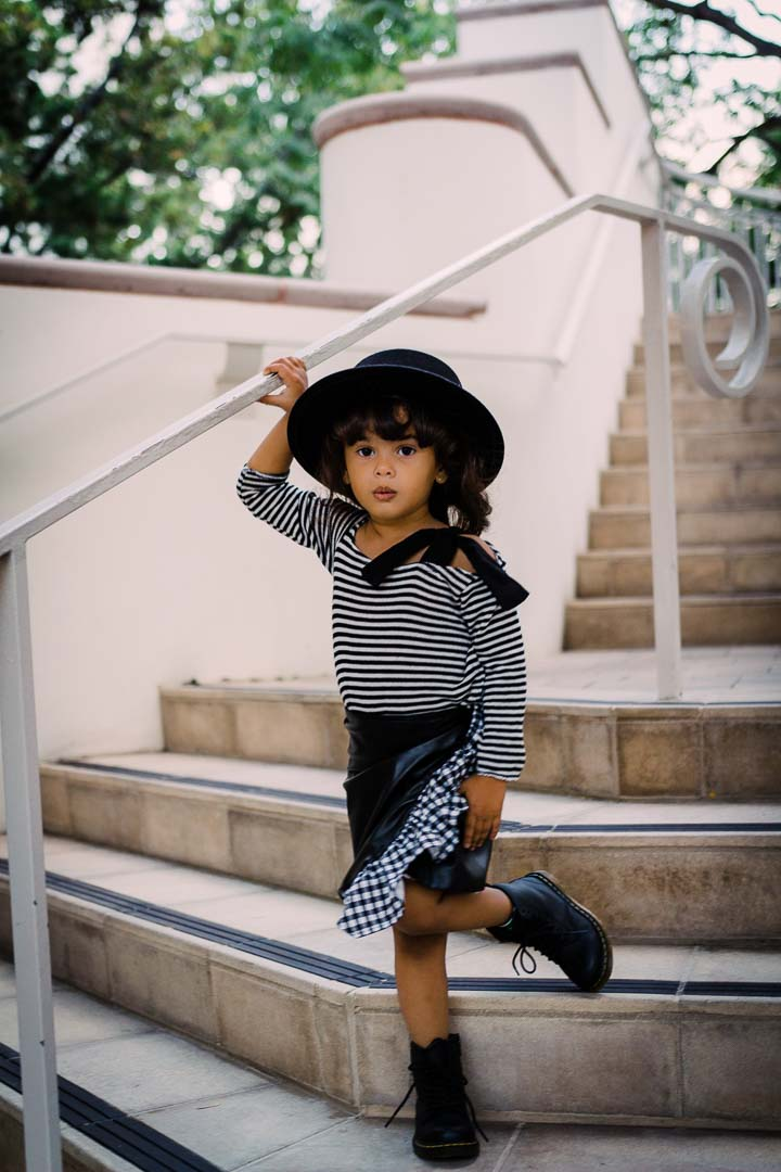 Skirt - Leather Skirt Toddler Girls - Checker Ruffles