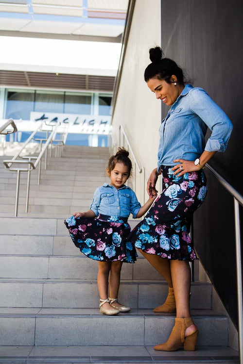 Skirt - Rose Fluted Skirt - Mommy and me Set