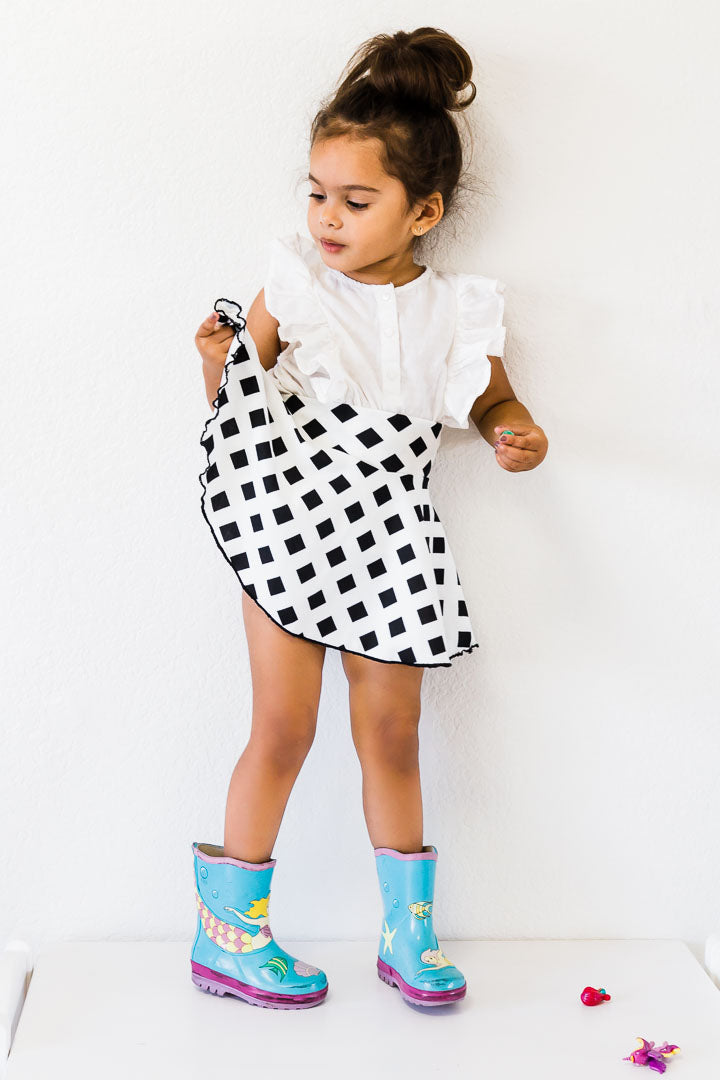 Toddler Skirt - Black and white Diamond
