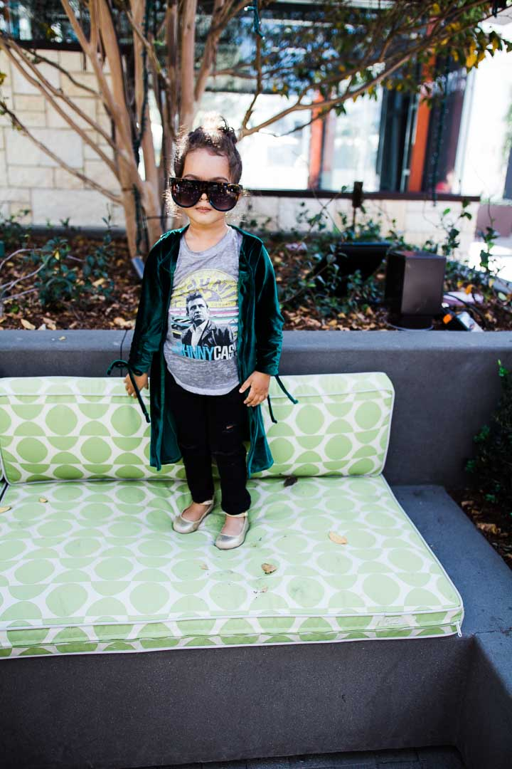 Toddler cardigan - green velvet top