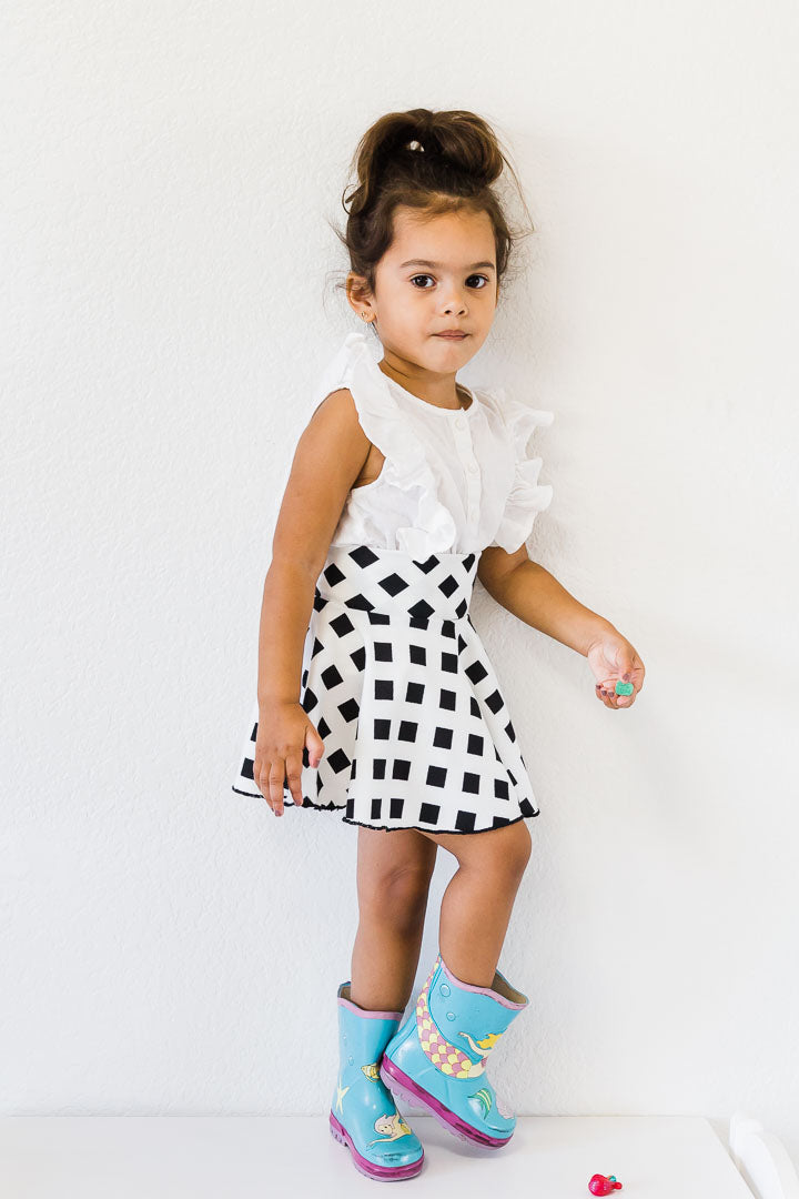 Toddler girl skirt- black and white circle skirt