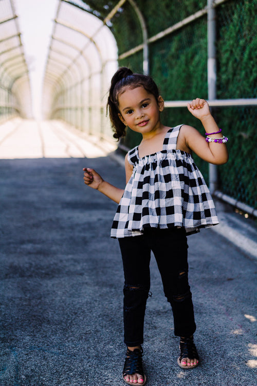 black and white crop top, toddler girl