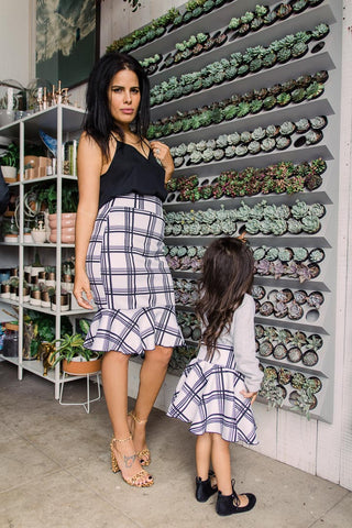 Denim Print High Waisted Skirts | Mommy and Me