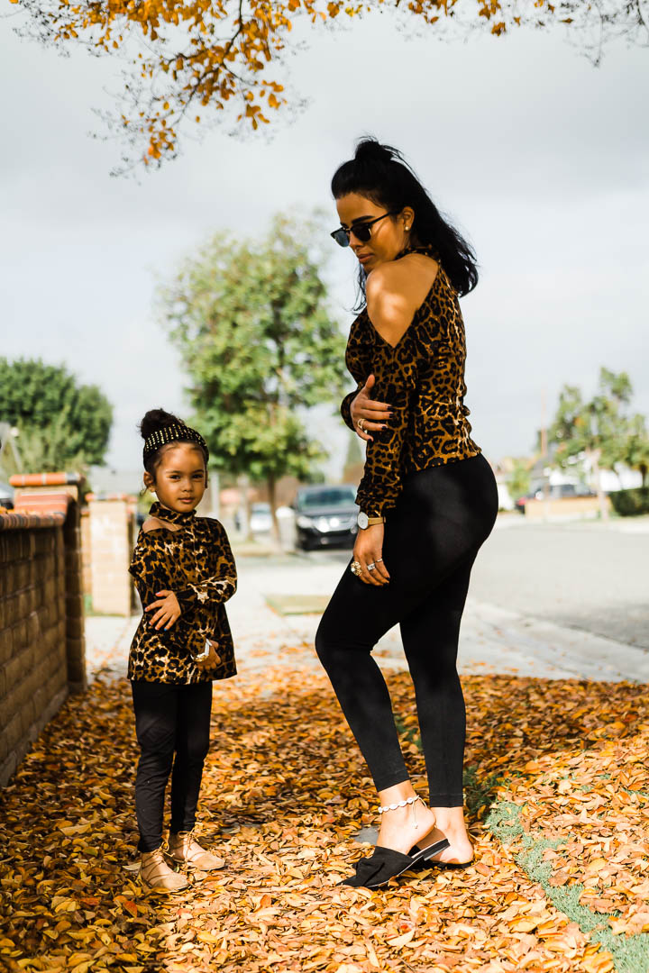 cheetah cold shoulder top worn by mom and daughter