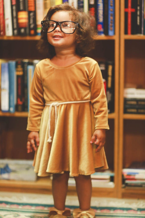 Dress - Golden Velvet Ballerina Dress For Toddler Girls