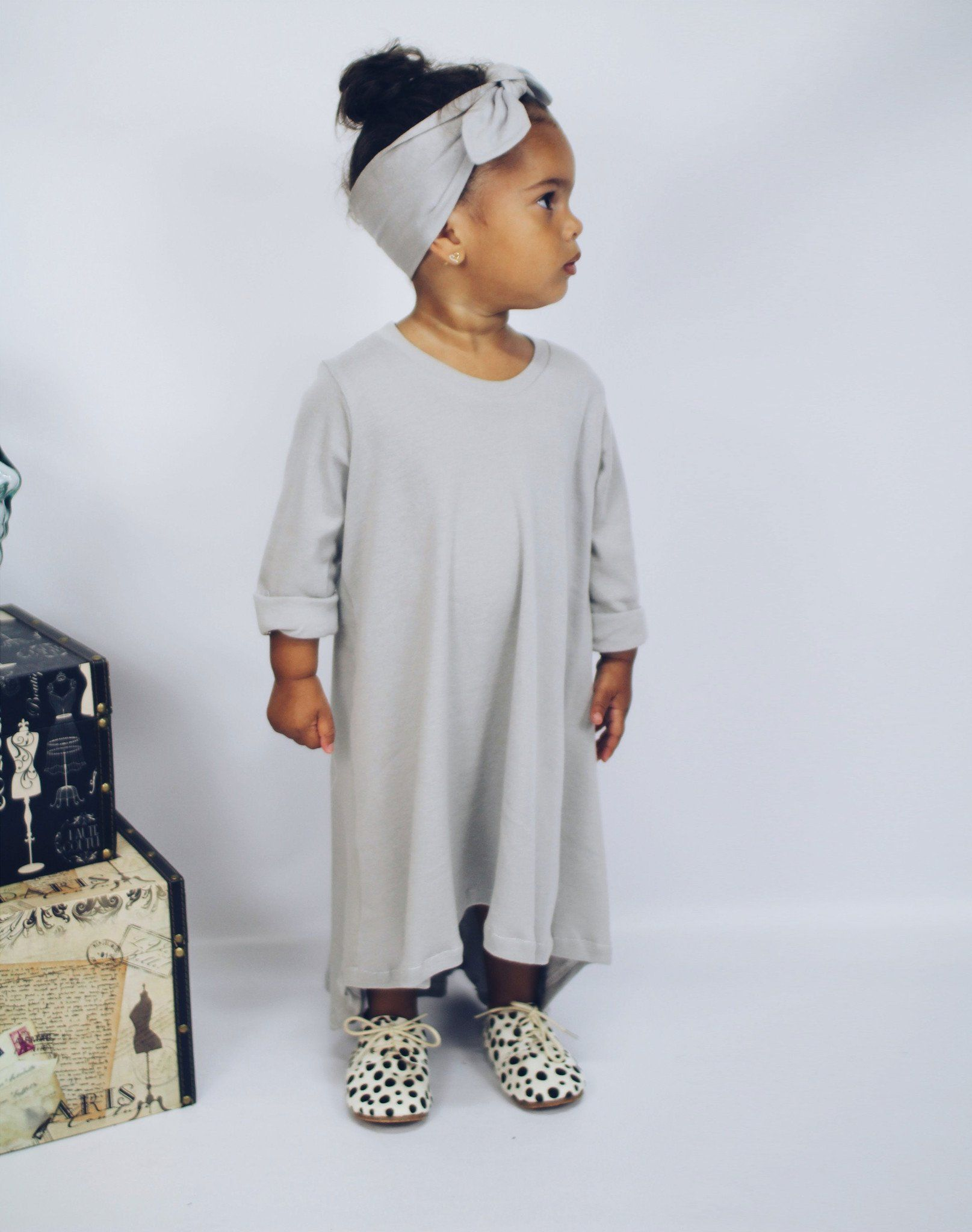 Dress - Little Girl Dress - Gray
