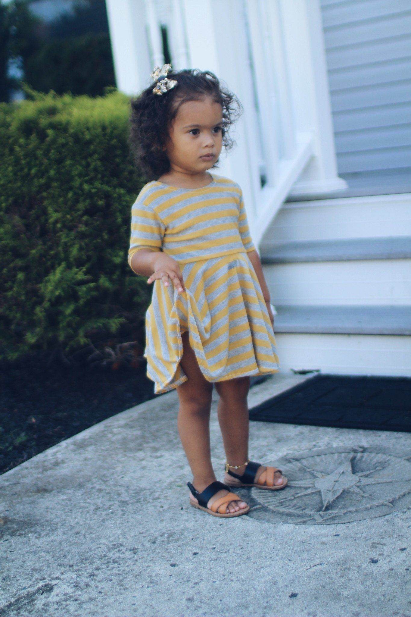 Dress - Mustard Striped T-Shirt Dress For Toddler Girl