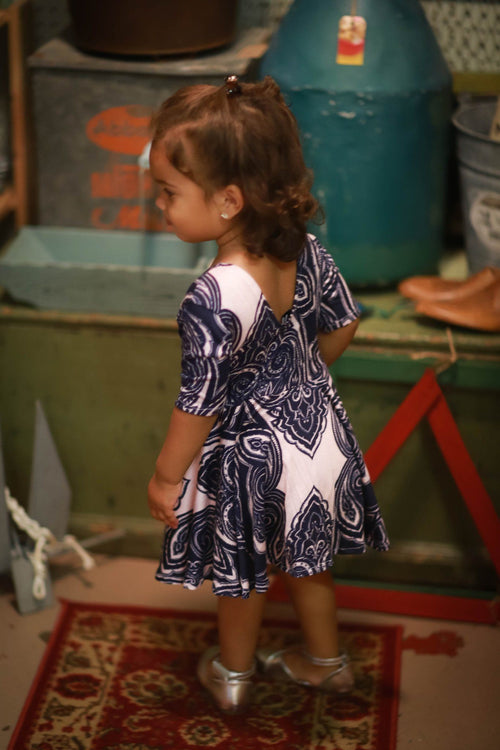 Dress - Pink & Blue Paisley Print Dress For Baby Girls