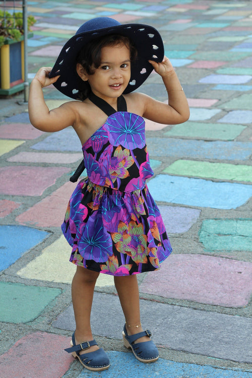 Dress - Purple Dress For Toddler Girl - Large Flower Print