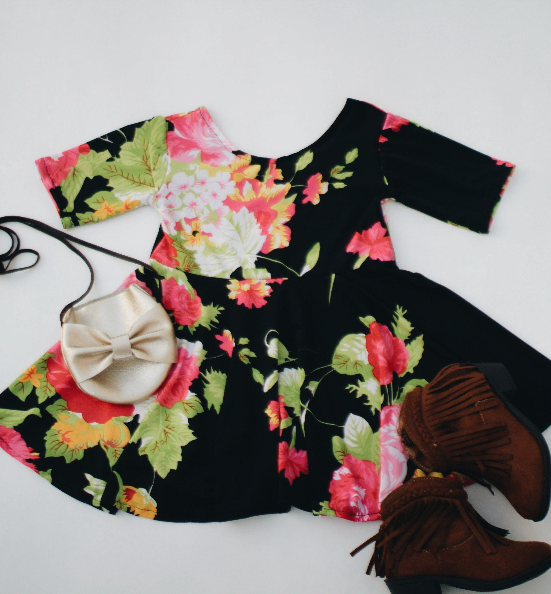 Dress - Silky Black Floral Dress For Toddler Girls