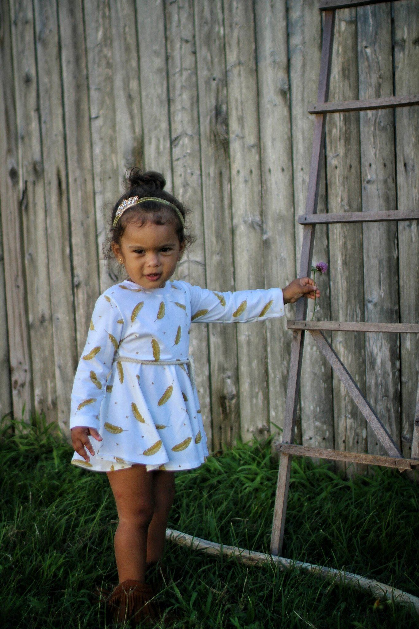 Dress - White & Gold Dress For Toddler Girl - Golden Feathers