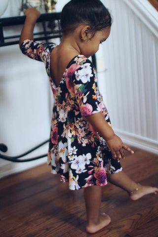 Silky Black Floral Dress for Toddler Girls