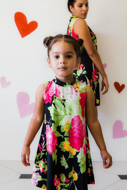 floral dress for little girls, sleeveless
