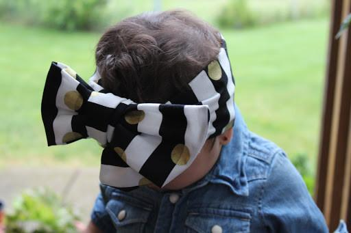 Head Wrap - Gold Polka Dots Head Wrap With Black And White Stripes