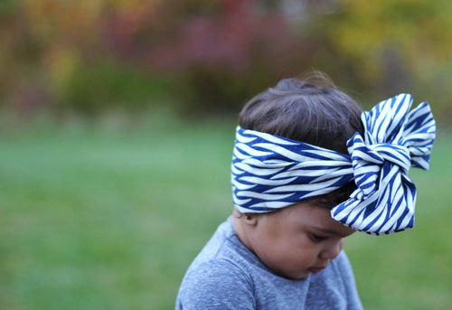 Head Wrap - Hair Wrap For Baby Girl - Blue & White Zebra Stripe