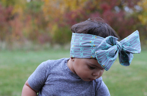 Head Wrap - Hair Wrap For Baby Girl - Grey & Green