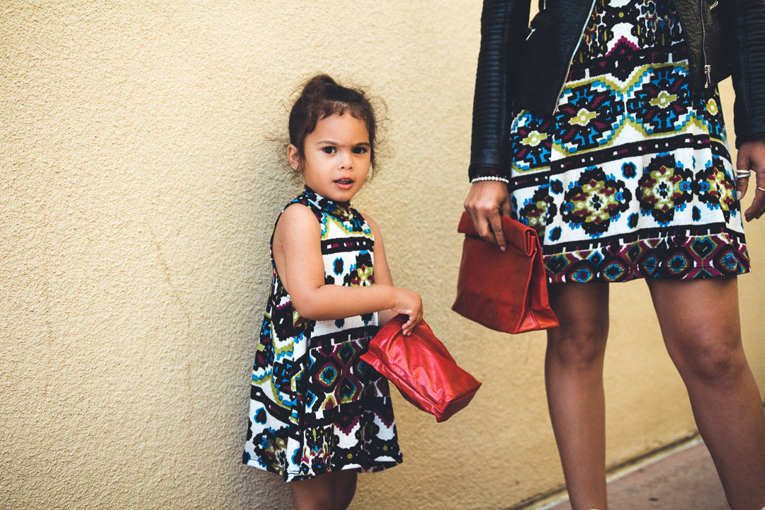 ikat rows dress model by mother and daughter