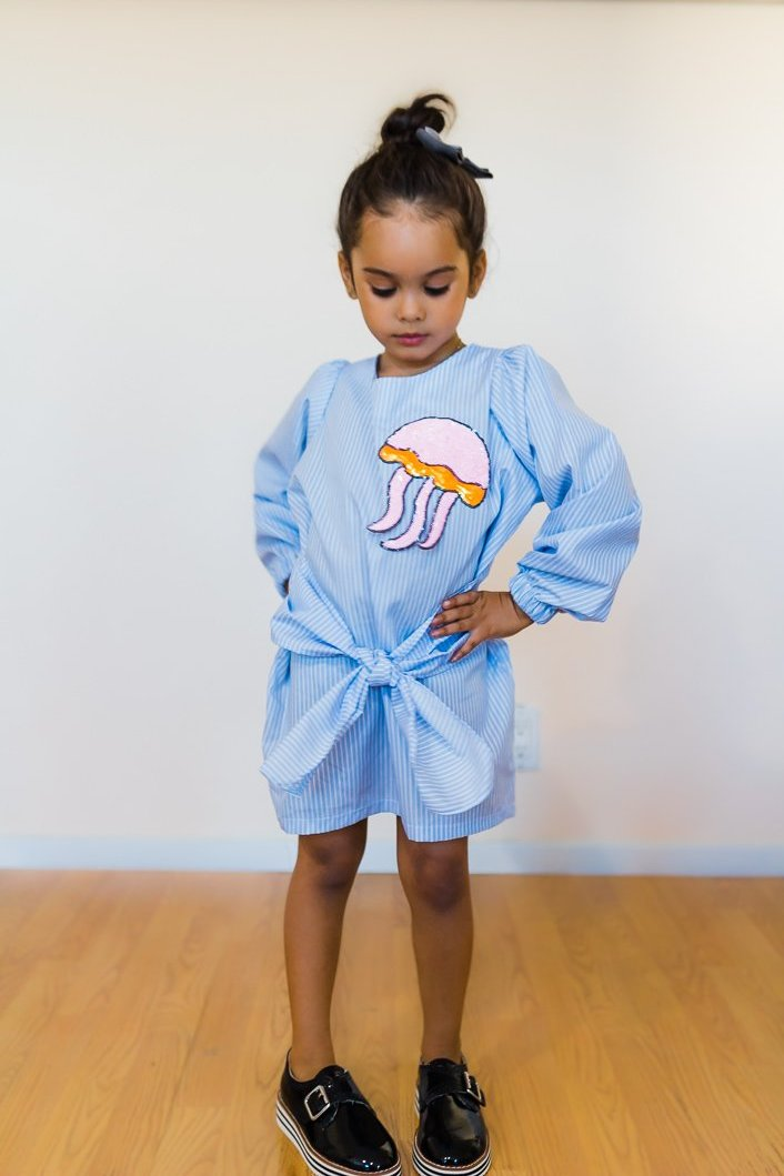 jellyfish patch tie front dress worn by girl