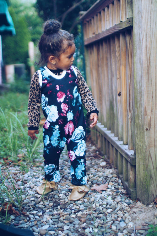 Jumpsuit - Floral Romper For Toddler Girl - Rose Garden