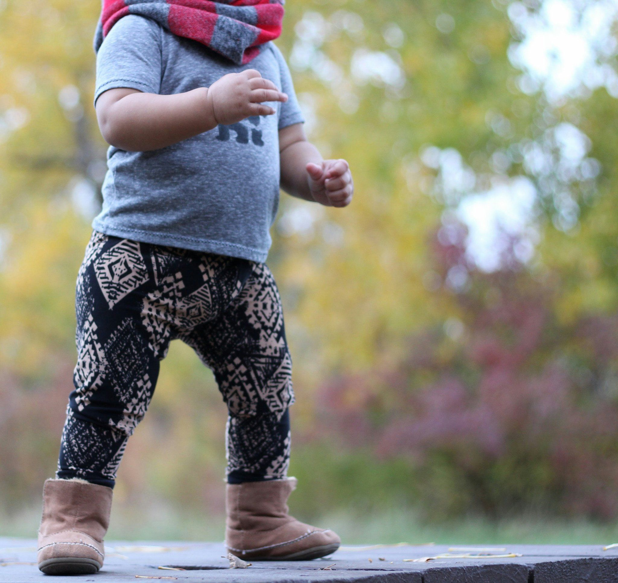 Leggings - Baby Aztec Leggings - Golden & Black