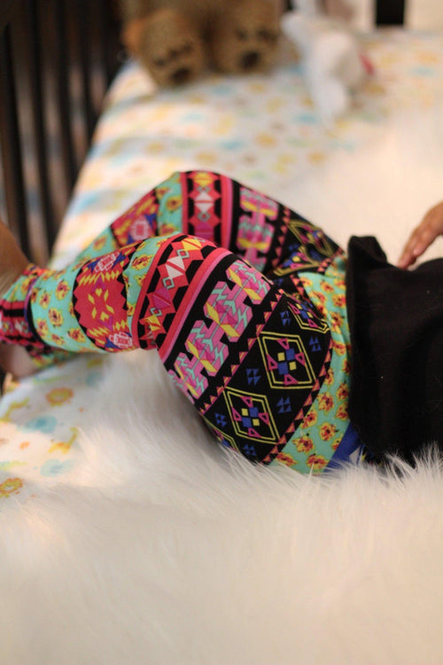 Leggings - Colorful Tribal Print Leggings For Baby Girl
