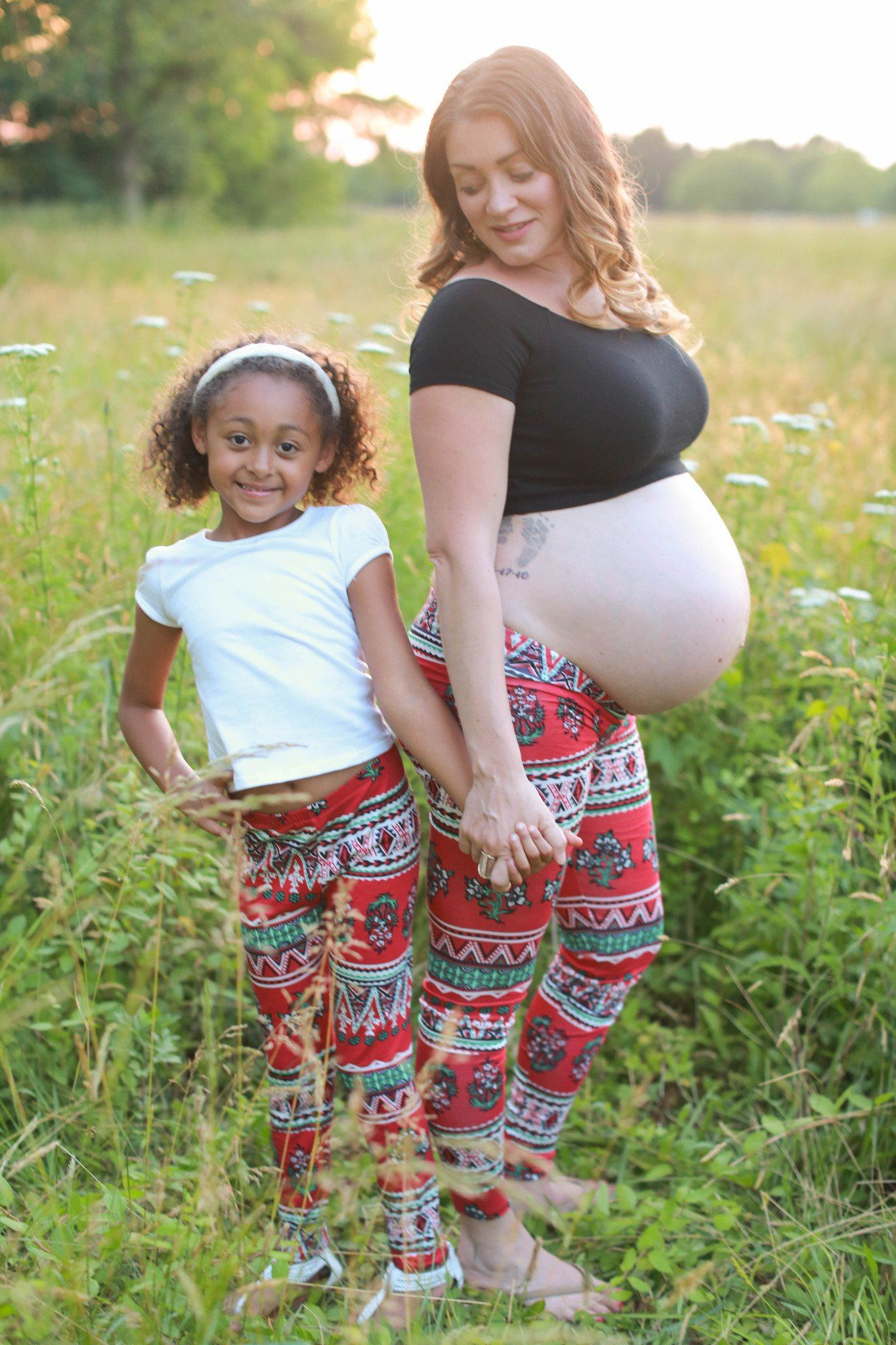 30c1a7b40b71e Low Rise Maternity Leggings - Mother and Daughter Matching Set - Red ...